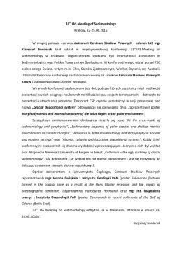 31 st IAS Meeting of Sedimentology