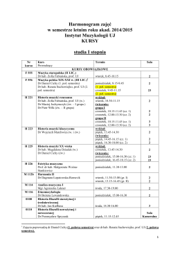 Harmonogram zajęć w semestrze letnim roku akad. 2014/2015