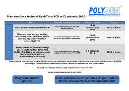 Plan kursów z techniki Real-Time PCR w II połowie 2015 Programy