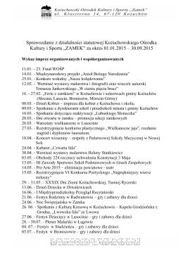 Sprawozdanie z działalności KOKiS za okres 01.01.2015