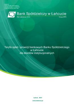 taryfa opłat i prowizji bankowych banku spółdzielczego w łańcucie