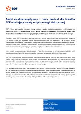 Audyt elektroenergetyczny - nowy produkt dla klientów EDF