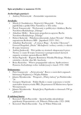 Spis artykułów w numerze 13-14: Archeologia pamięci: • Andrzej
