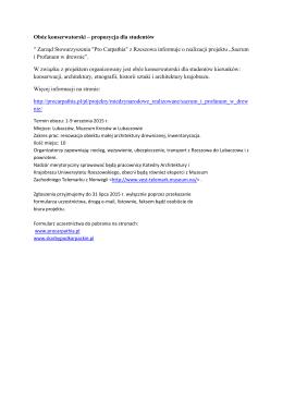 """Obóz konserwatorski – propozycja dla studentów """" Zarząd"""
