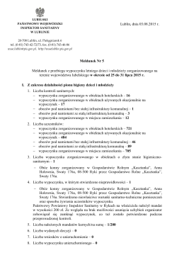 Lublin, dnia 03.08.2015 r. Meldunek Nr 5 Meldunek z przebiegu