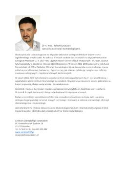 Dr n. med. Robert Łyszczarz specjalista chirurgii stomatologicznej