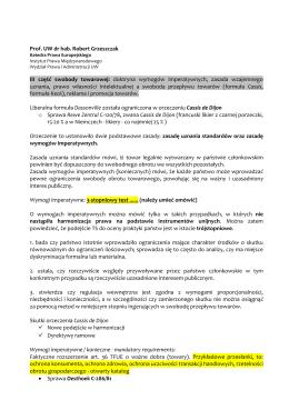 Prof. UW dr hab. Robert Grzeszczak III część swobody towarowej