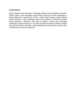 dr Robert Zieliński adiunkt w Katedrze Prawa Finansowego i
