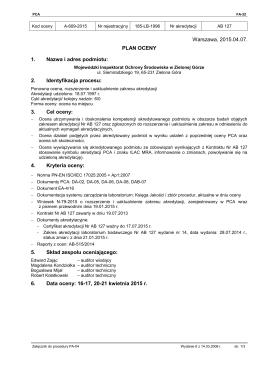 Plan auditu - Wojewódzki Inspektorat Ochrony Środowiska w