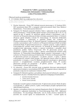 Protokół Nr 7 /2015 z posiedzenia Rady Polskiej Izby