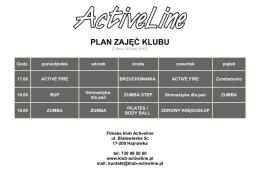 PLAN ZAJĘĆ KLUBU - Fitness klub Activeline