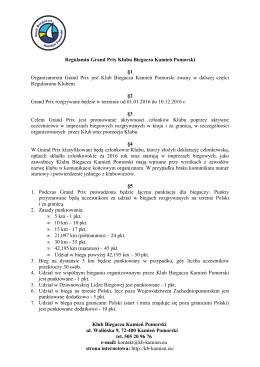 Regulamin Grand Prix Klubu Biegacza Kamień - kb