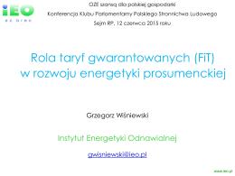 Rola FIT w rozwoju energetyki prosumenckiej