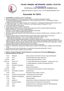 komunikatu PZWLA 1/2015 - Polski Związek Weteranów Lekkiej