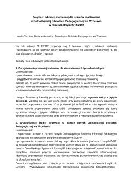 Zajęcia z edukacji medialnej realizowanych w DBP we Wrocławiu