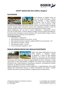 OFERTY WAKACYJNE 2015 OSRiR w Mogilnie