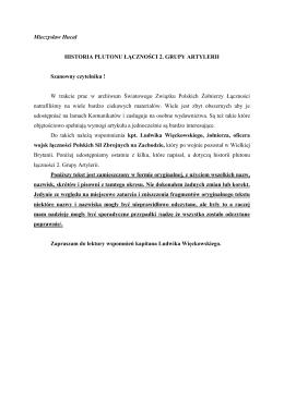 Komunikat nr. 31 - Historia Plutonu Łączności 2. Grupy Artylerii