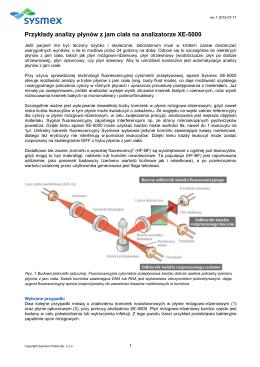 Przykłady analizy płynów z jam ciała na analizatorze XE