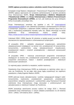 EIOPA ogłasza procedurę wyboru członków swoich Grup