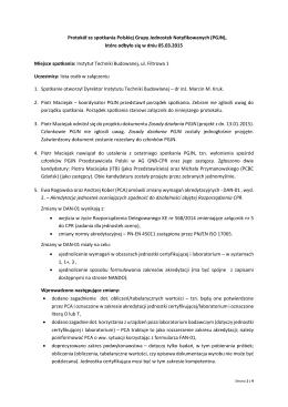 Protokół ze spotkania Polskiej Grupy Jednostek Notyfikowanych