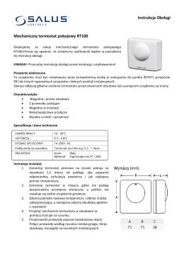 Instrukcja Obsługi Mechaniczny termostat pokojowy RT100