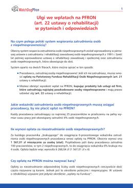 Ulgi we wpłatach na PFRON (art. 22 ustawy o rehabilitacji) w