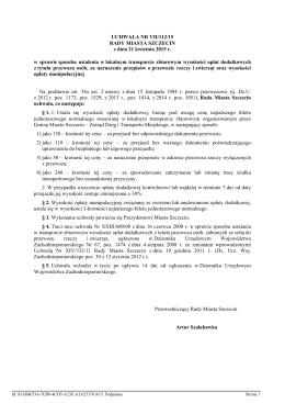 Uchwała NR VII/112/15 RADY MIASTA SZCZECIN z dnia 21