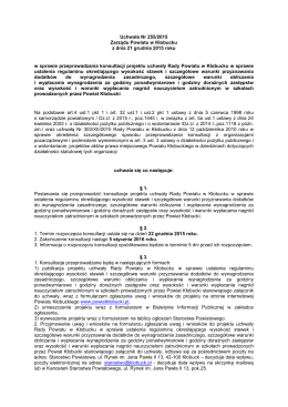 Projekt uchwaly Rady Powiatu w Klobucku