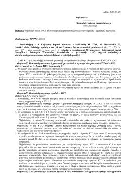 wyjaśnienia treści SIWZ - 1 Wojskowy Szpital Kliniczny z