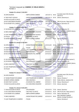 Terminarz rozgrywek ligi: ZABRZE: E1 ORLIK GRUPA I RUNDA II