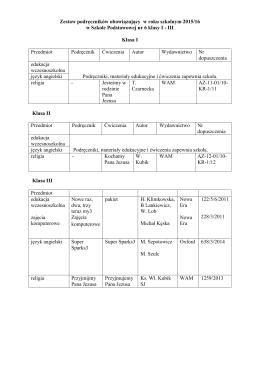 Zestaw podręczników obowiązujący w roku szkolnym 2015/16 w
