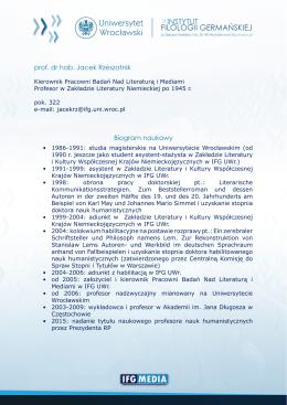 prof. dr hab. Jacek Rzeszotnik Biogram naukowy