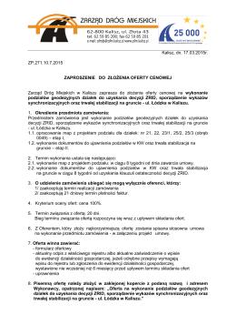 Zaproszenie - Zarząd Dróg Miejskich w Kaliszu