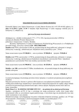 1 Komornik Sądowy przy Sądzie Rejonowym w Łasku Marcin Koziara