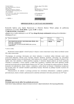 1 Komornik Sądowy przy Sądzie Rejonowym w Złotowie Bartosz