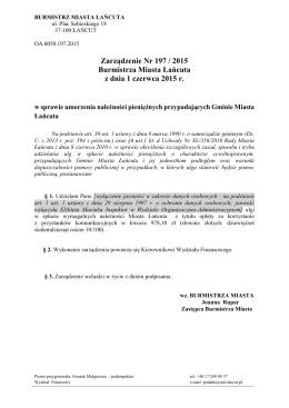 Zarządzenie Nr 197 / 2015 Burmistrza Miasta Łańcuta z dnia 1