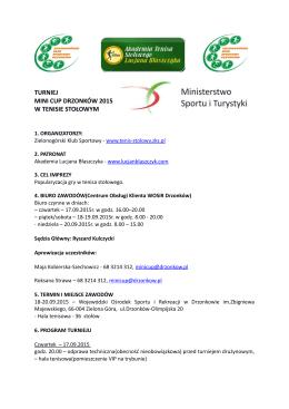 Komunikat nr 2 Mini Drzonk+-w Cup 2015