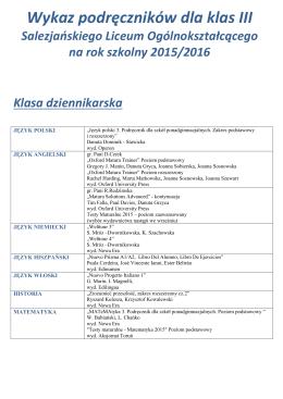 Wykaz podręczników dla klas III