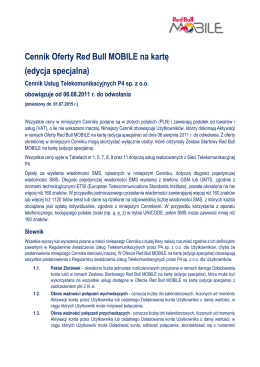 Cennik Oferty Red Bull MOBILE na kartę (edycja specjalna)