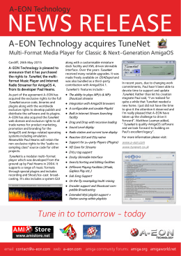 Tune in to tomorrow - today A-EON Technology acquires TuneNet