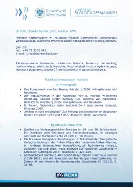 dr hab. Urszula Bonter, prof. nadzw. UWr. Publikacje naukowe