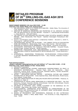 DETAILED CONFERENCE SESSIONS PROGRAM - Drilling-Oil