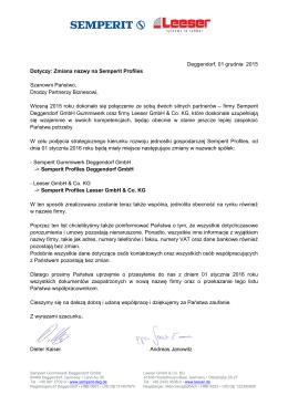 Deggendorf, 01 grudnia 2015 Dotyczy: Zmiana nazwy na