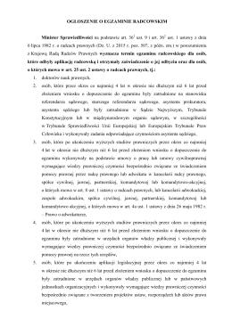 Ogłoszenie o egzaminie radcowskim
