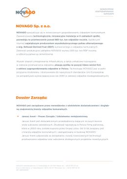NOVAGO Sp. z o.o. Dossier Zarządu: