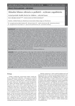 Aktualne bilanse zdrowia w pediatrii – wybrane zagadnienia