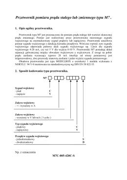 Przetwornik pomiaru pr du stałego lub zmiennego typu M7 .