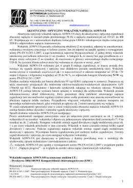 karta Wskaźnik AOWN-5-8 (wydanie I - 10.2015)
