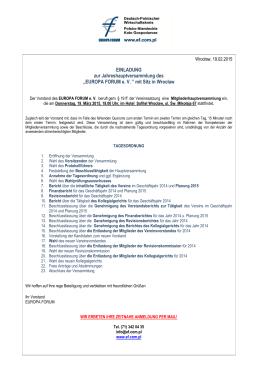 """EINLADUNG zur Jahreshauptversammlung des """"EUROPA FORUM"""