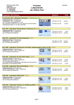Preisliste Luftpostbriefe der Vatikan Post